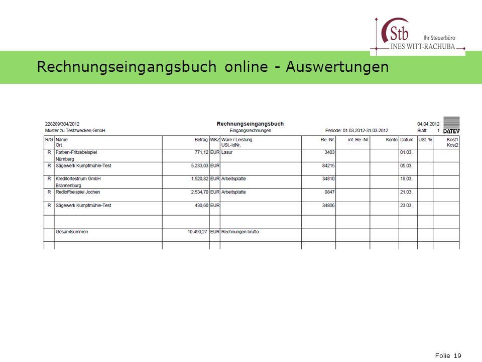 Rechnungseingangsbuch online - Auswertungen