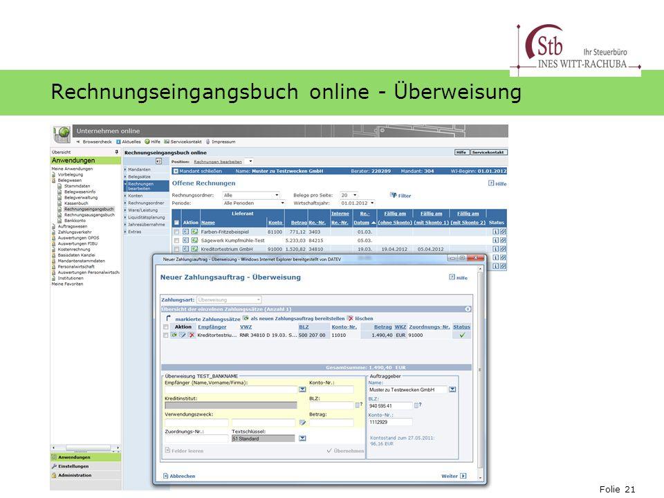 Rechnungseingangsbuch online - Überweisung