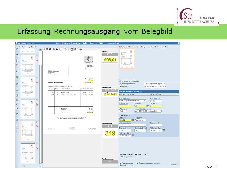 Erfassung Rechnungsausgang vom Belegbild