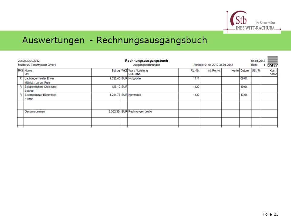 Auswertungen - Rechnungsausgangsbuch