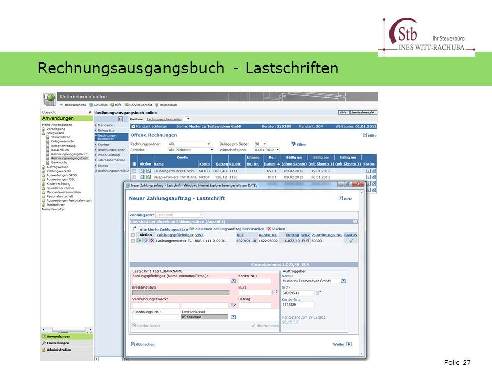 Rechnungsausgangsbuch - Lastschriften
