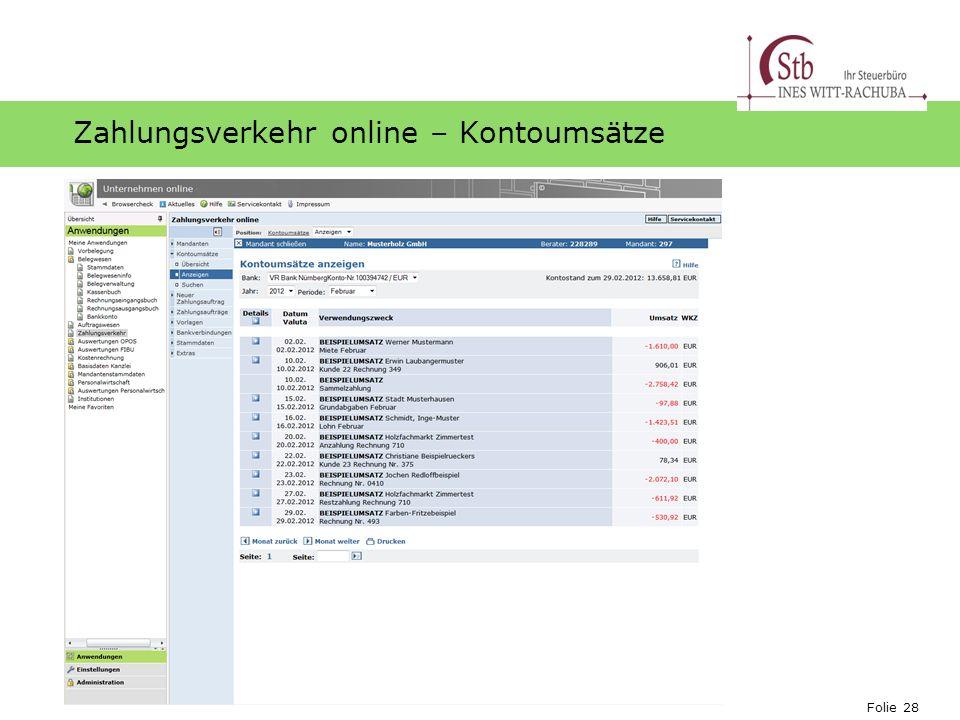 Zahlungsverkehr online – Kontoumsätze
