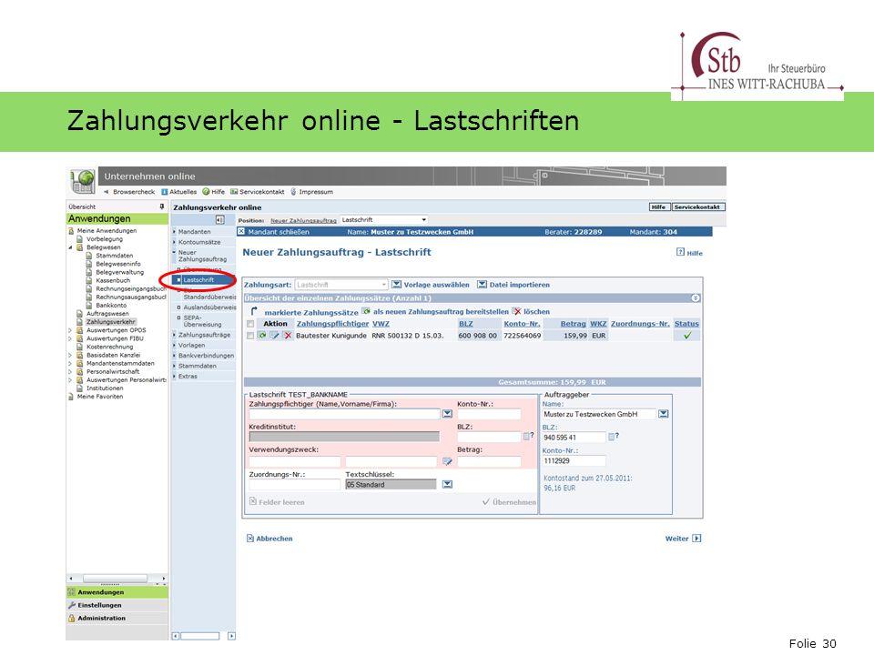 Zahlungsverkehr online - Lastschriften