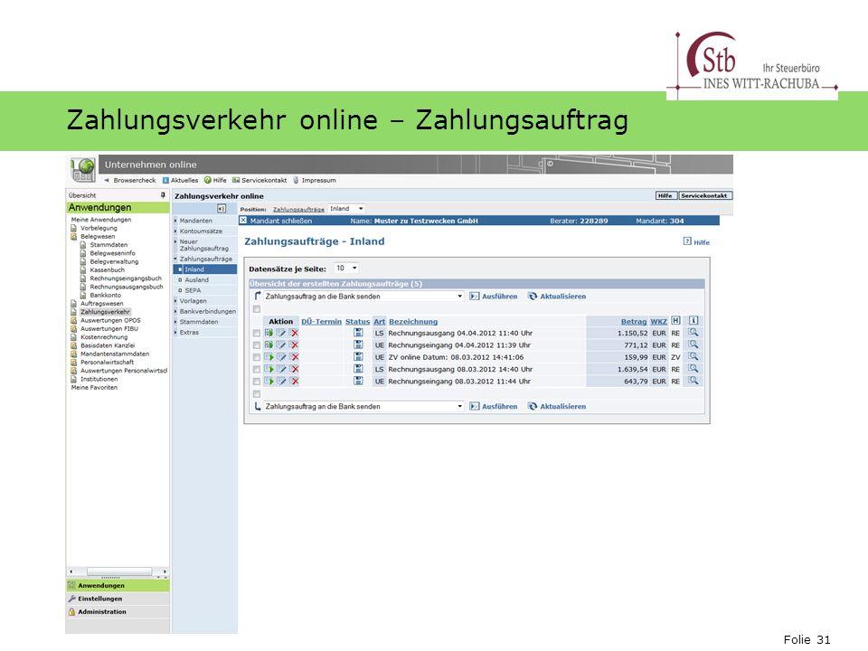 Zahlungsverkehr online – Zahlungsauftrag