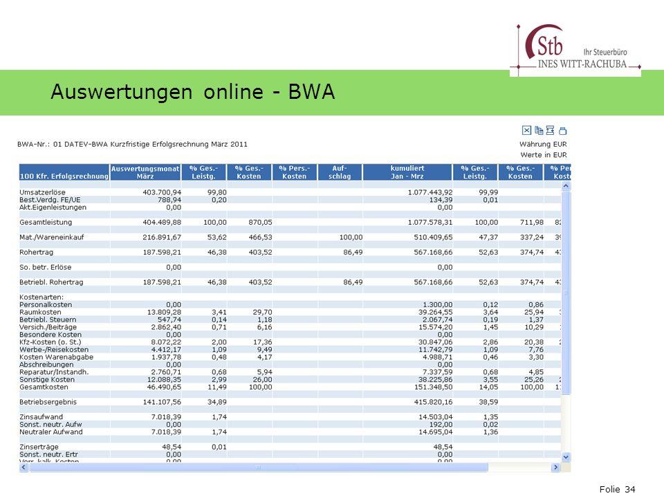 Auswertungen online - BWA