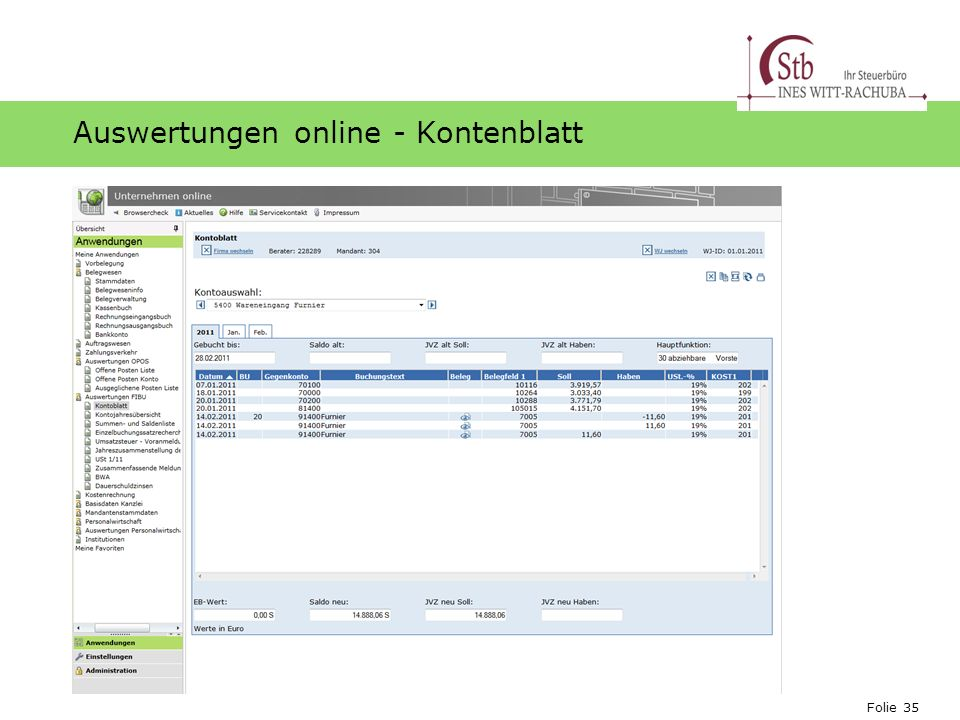 Auswertungen online - Kontenblatt