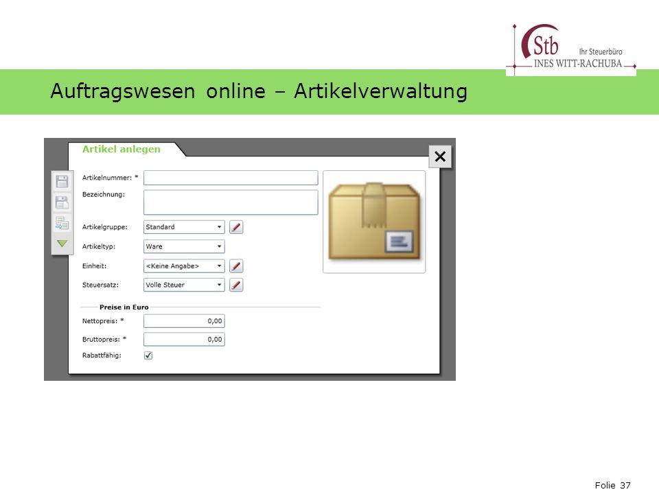 Auftragswesen online – Artikelverwaltung