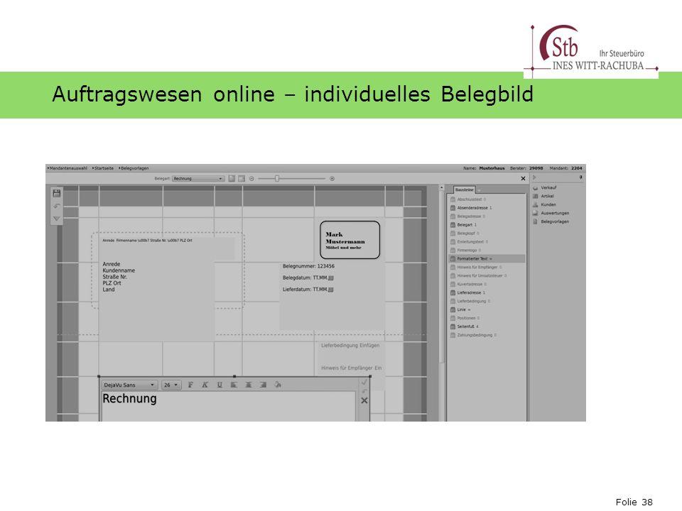Auftragswesen online – individuelles Belegbild