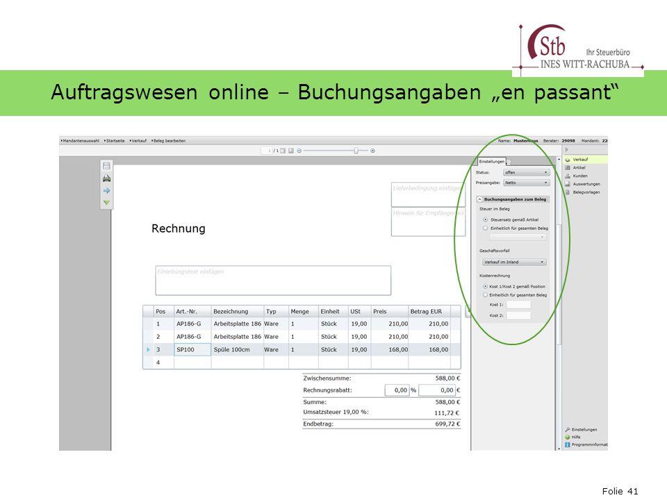 "Auftragswesen online – Buchungsangaben ""en passant"