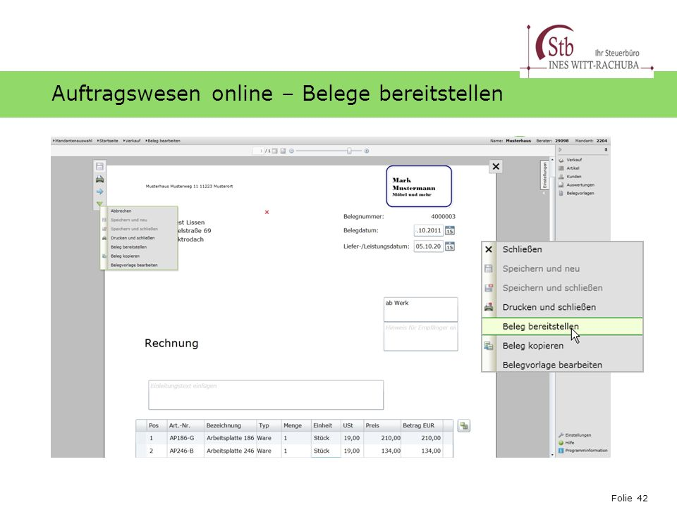 Auftragswesen online – Belege bereitstellen