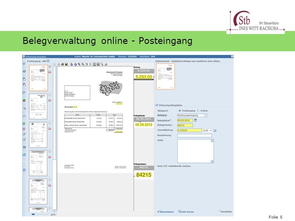 Belegverwaltung online - Posteingang