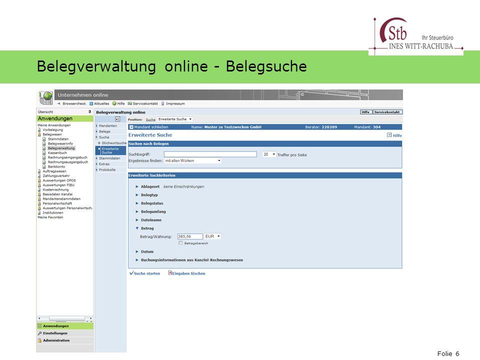 Belegverwaltung online - Belegsuche