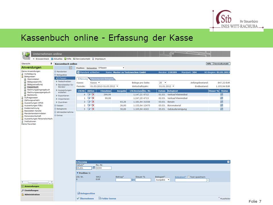 Kassenbuch online - Erfassung der Kasse