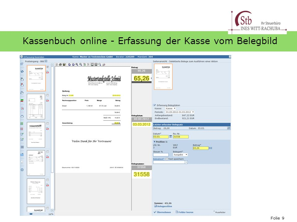 Kassenbuch online - Erfassung der Kasse vom Belegbild