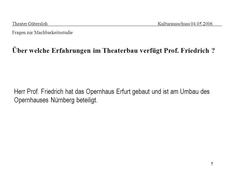 Über welche Erfahrungen im Theaterbau verfügt Prof. Friedrich