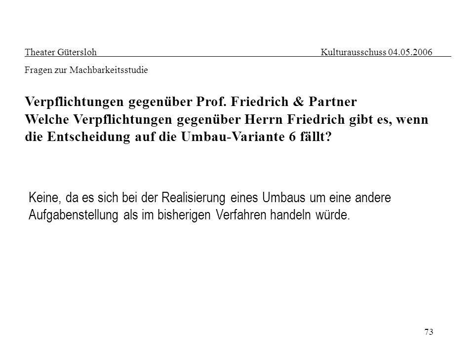 Verpflichtungen gegenüber Prof. Friedrich & Partner