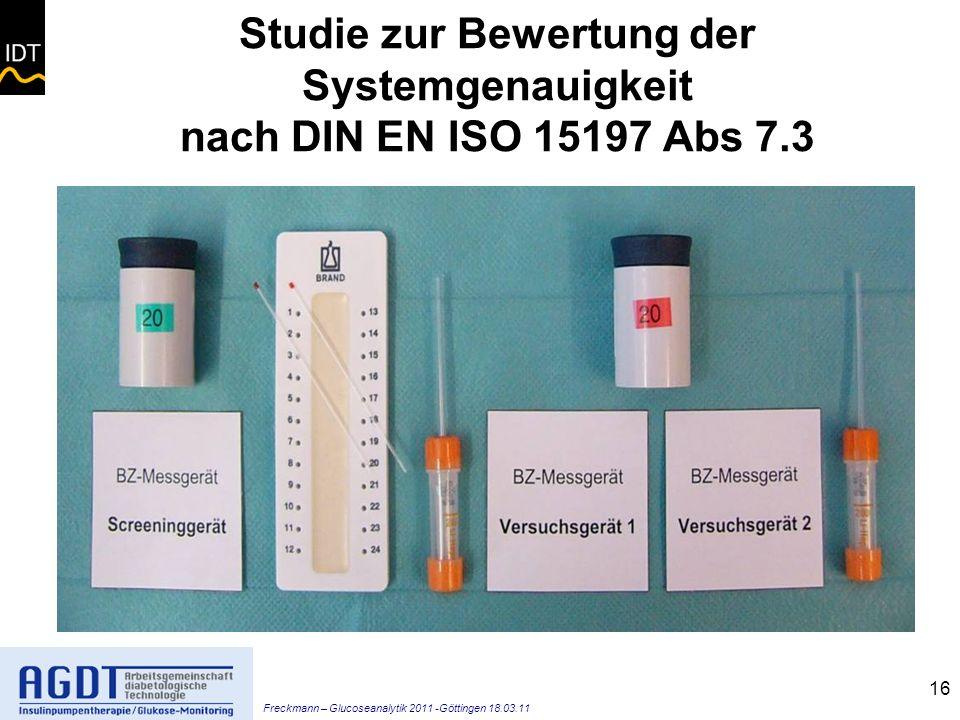 Studie zur Bewertung der Systemgenauigkeit nach DIN EN ISO 15197 Abs 7