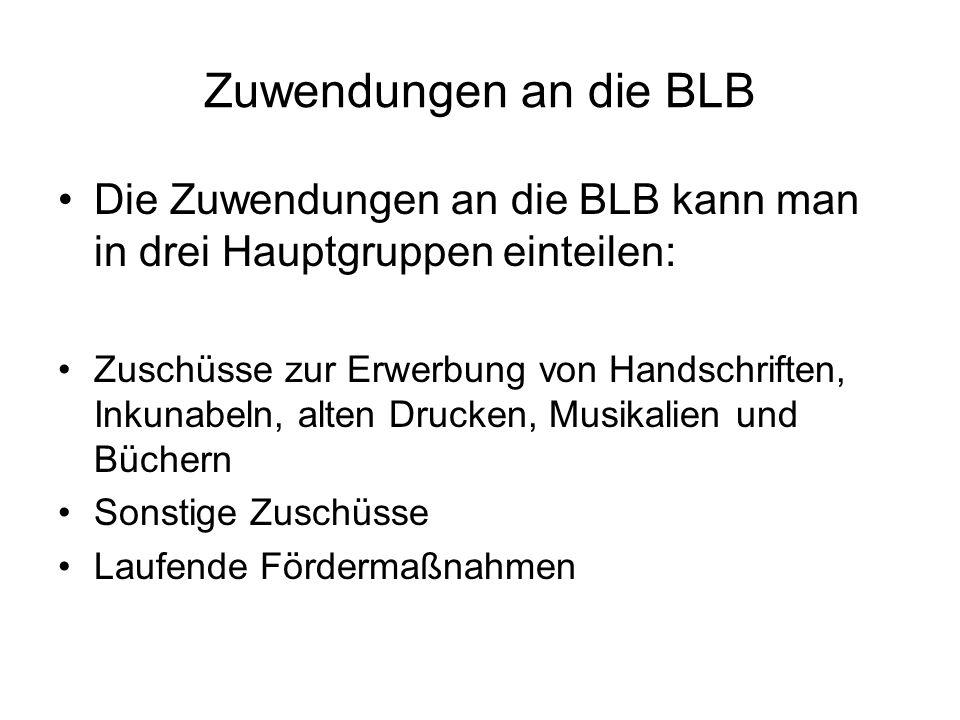 Zuwendungen an die BLBDie Zuwendungen an die BLB kann man in drei Hauptgruppen einteilen: