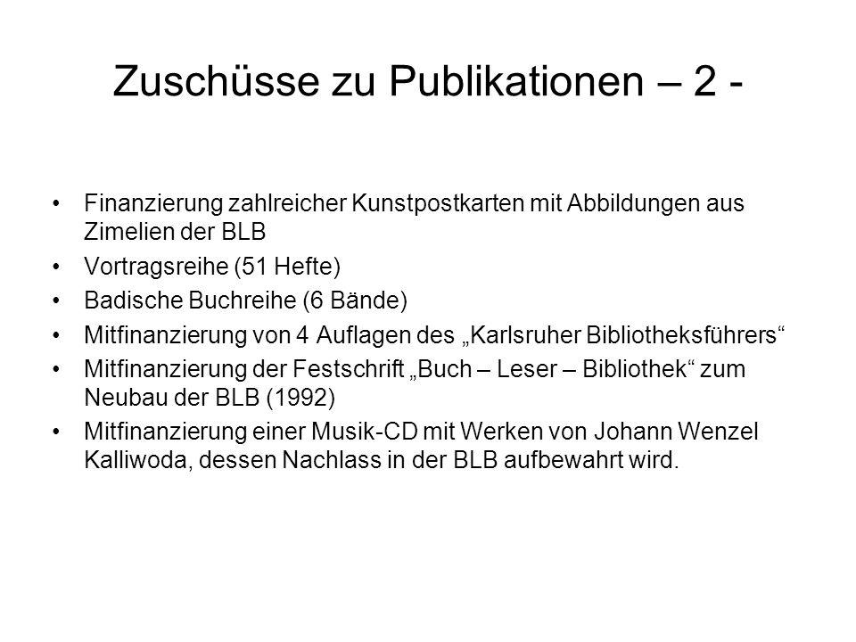 Zuschüsse zu Publikationen – 2 -
