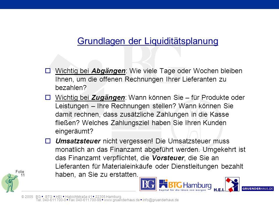 Grundlagen der Liquiditätsplanung