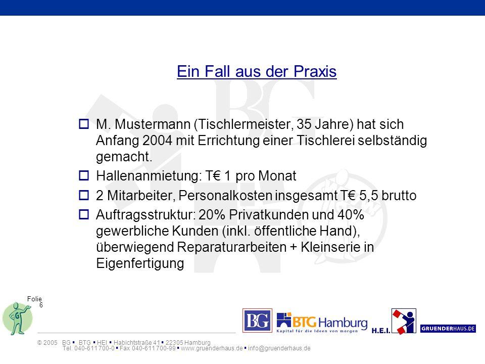 Ein Fall aus der Praxis M. Mustermann (Tischlermeister, 35 Jahre) hat sich Anfang 2004 mit Errichtung einer Tischlerei selbständig gemacht.