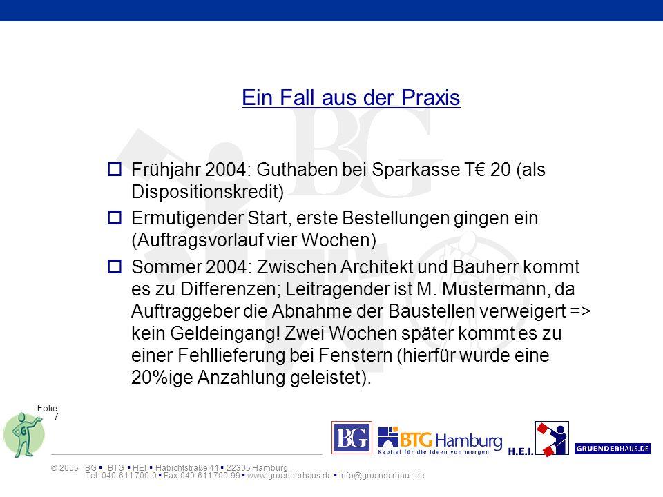 Ein Fall aus der PraxisFrühjahr 2004: Guthaben bei Sparkasse T€ 20 (als Dispositionskredit)