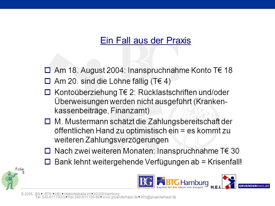 Ein Fall aus der PraxisAm 18. August 2004: Inanspruchnahme Konto T€ 18. Am 20. sind die Löhne fällig (T€ 4)