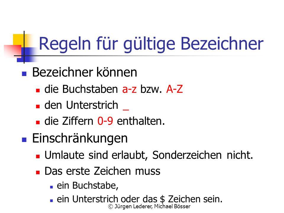 Regeln für gültige Bezeichner