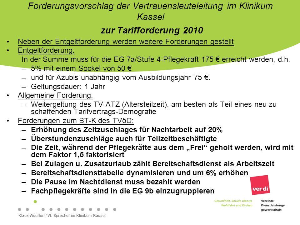 Forderungsvorschlag der Vertrauensleuteleitung im Klinikum Kassel zur Tarifforderung 2010