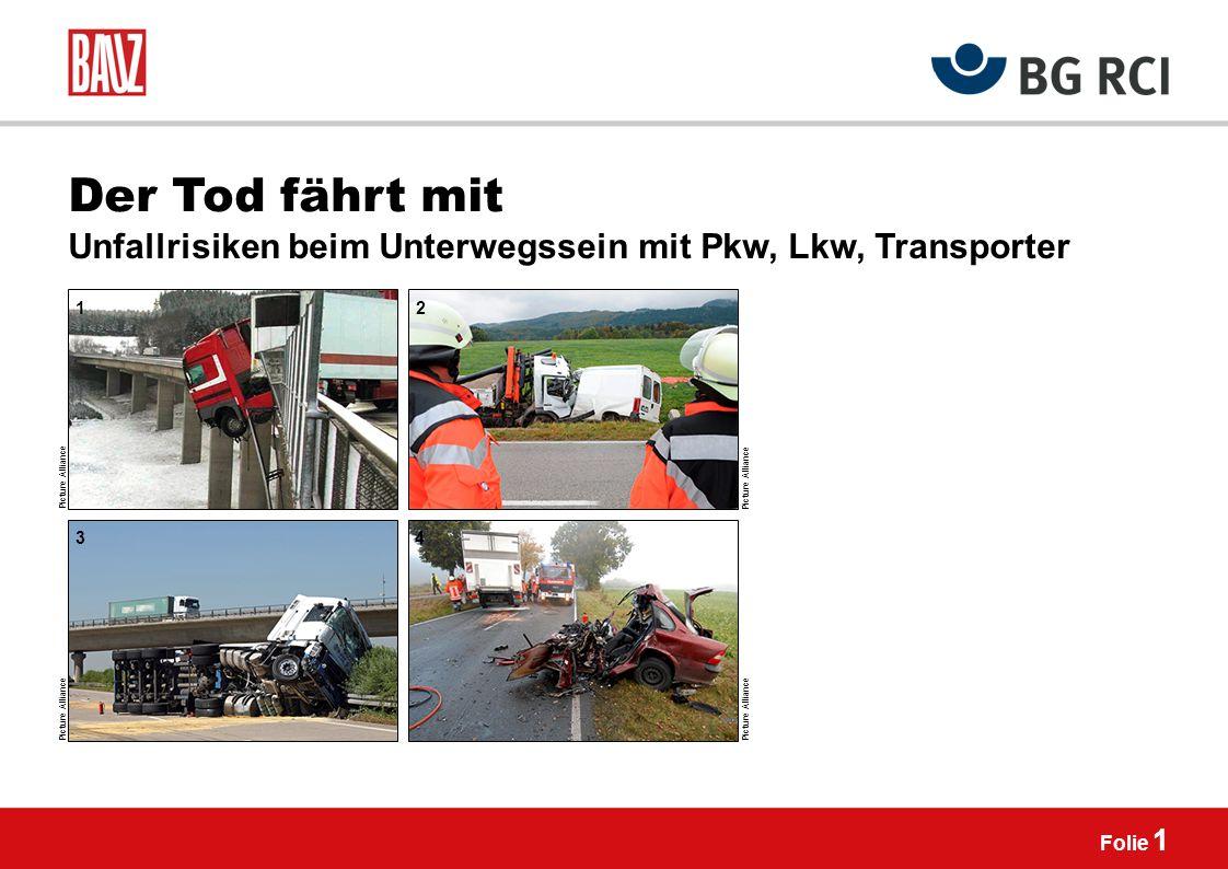 Der Tod fährt mit Unfallrisiken beim Unterwegssein mit Pkw, Lkw, Transporter. 1. 2. Picture Alliance.