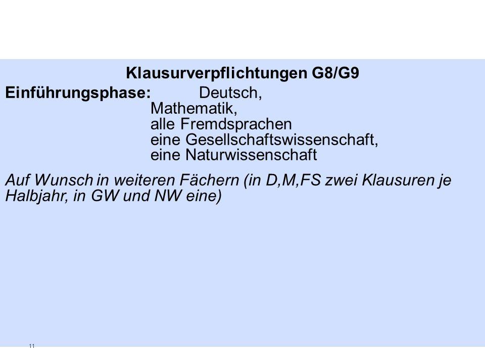 Klausurverpflichtungen G8/G9