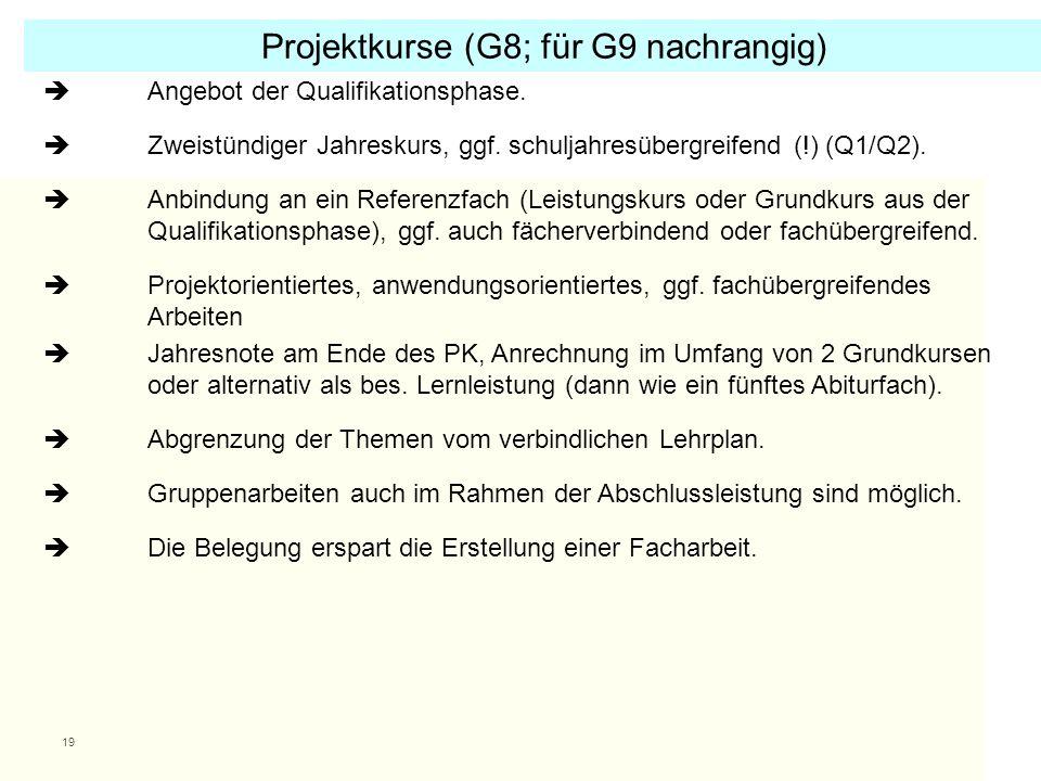 Projektkurse (G8; für G9 nachrangig)