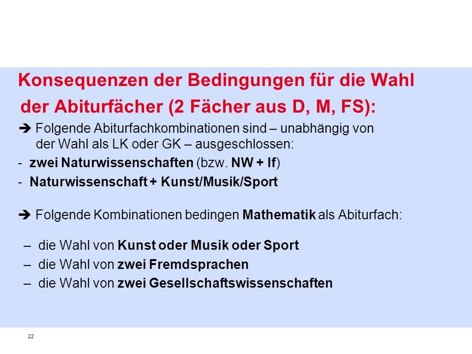 der Abiturfächer (2 Fächer aus D, M, FS):