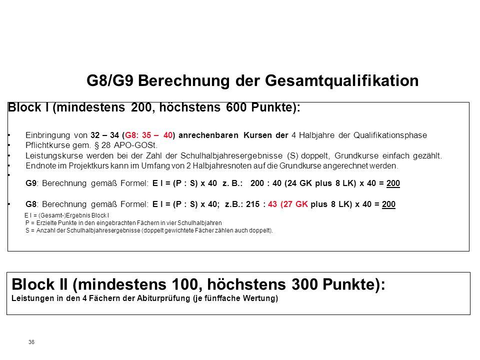 G8/G9 Berechnung der Gesamtqualifikation