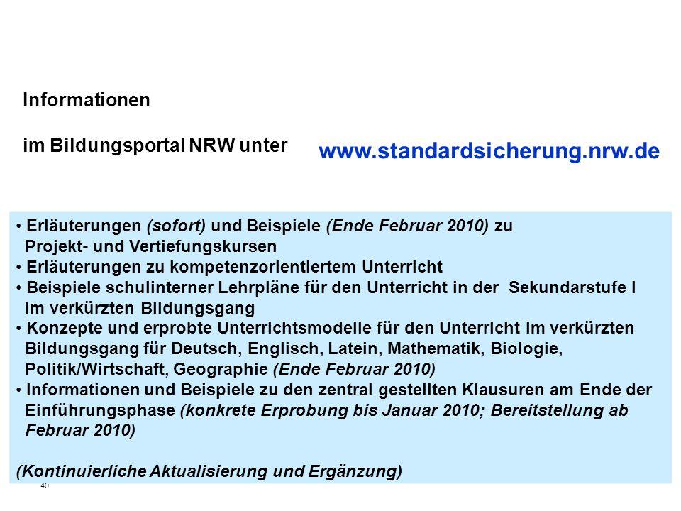 Informationen im Bildungsportal NRW unter