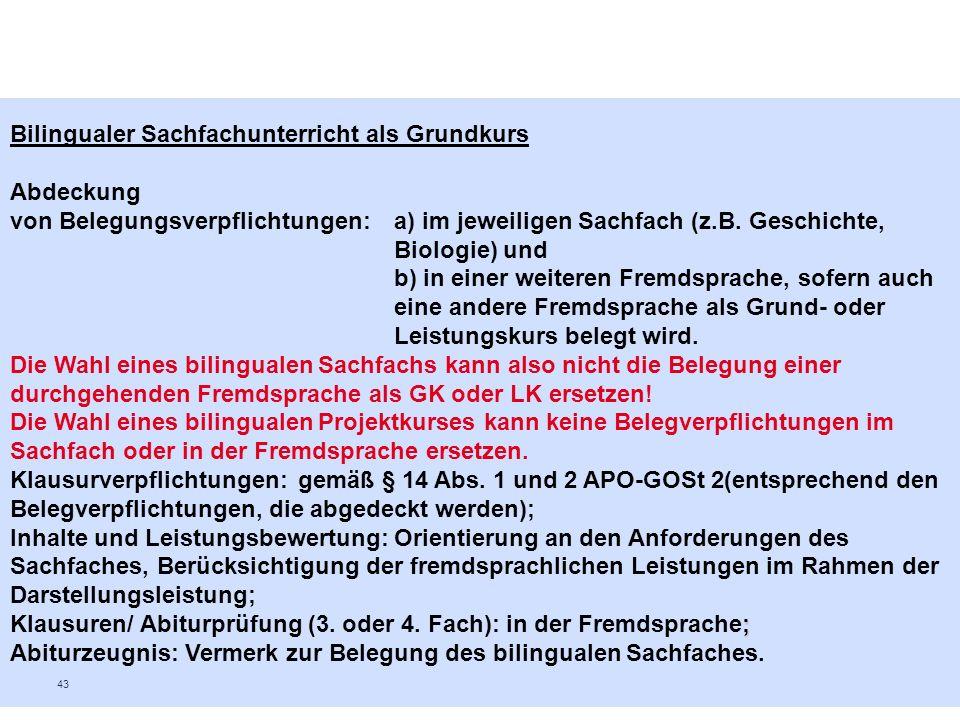 Bilingualer Sachfachunterricht als Grundkurs