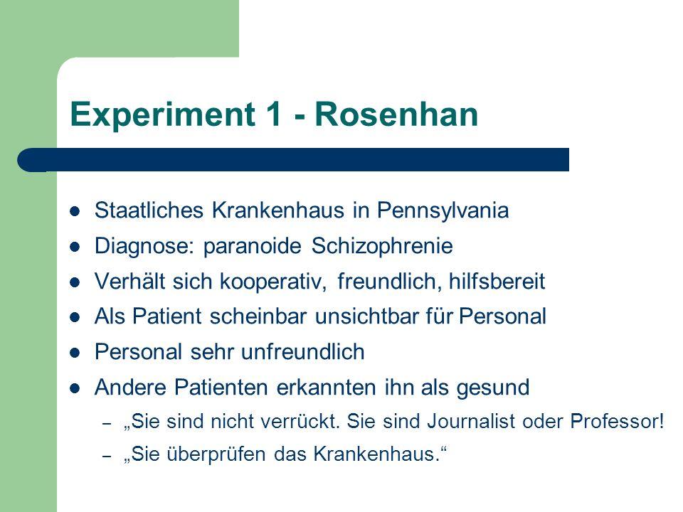 Experiment 1 - Rosenhan Staatliches Krankenhaus in Pennsylvania