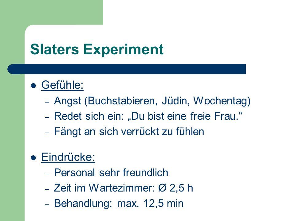 Slaters Experiment Gefühle: Eindrücke: