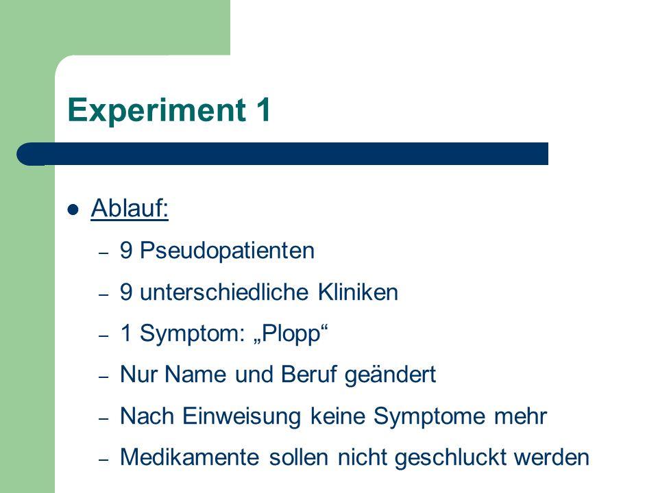 Experiment 1 Ablauf: 9 Pseudopatienten 9 unterschiedliche Kliniken