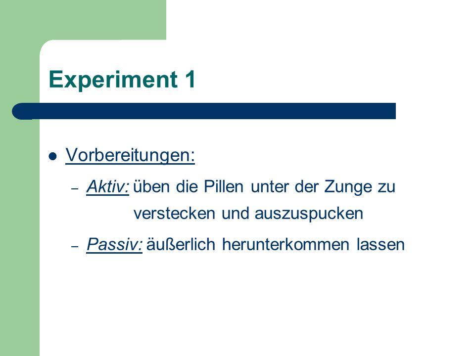Experiment 1 Vorbereitungen: