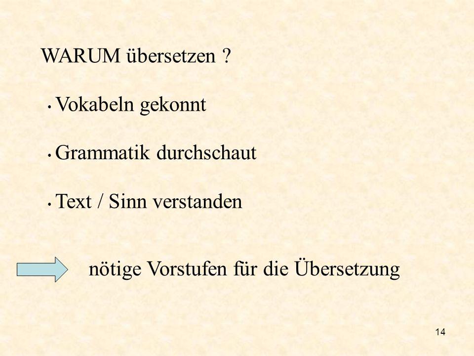nötige Vorstufen für die Übersetzung