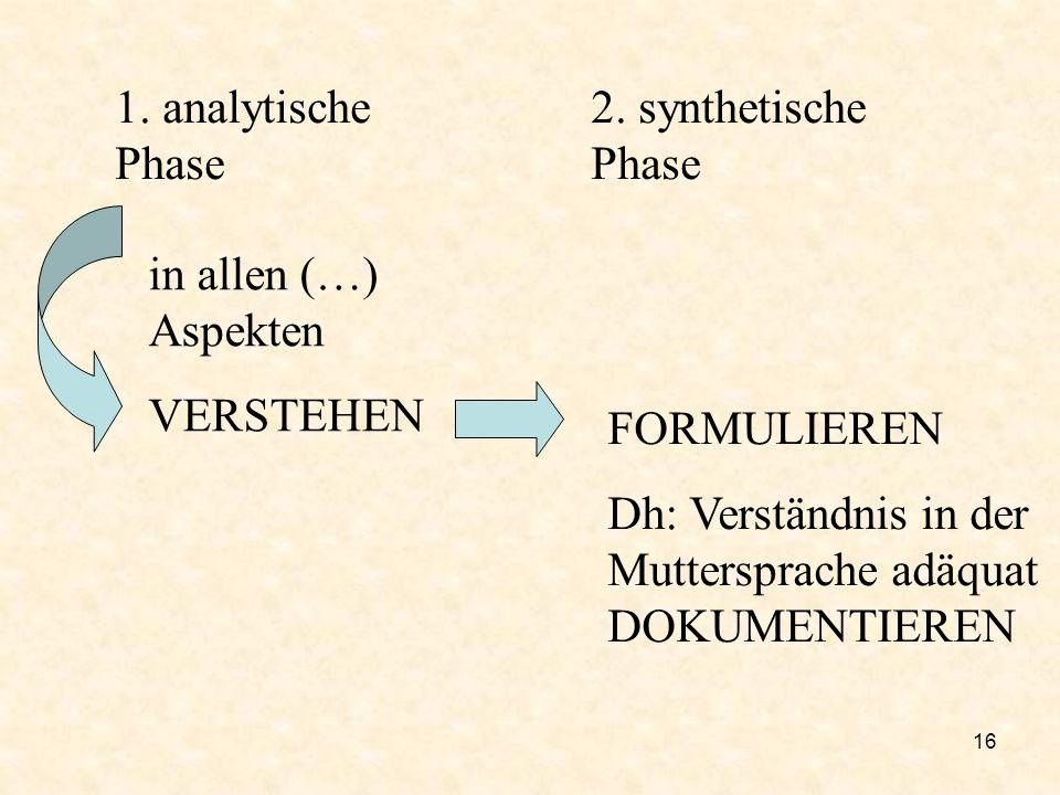 1.analytische Phase2. synthetische Phase. in allen (…) Aspekten.