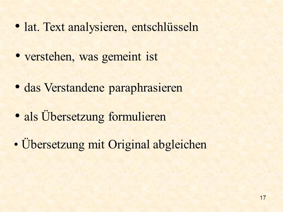 lat. Text analysieren, entschlüsseln