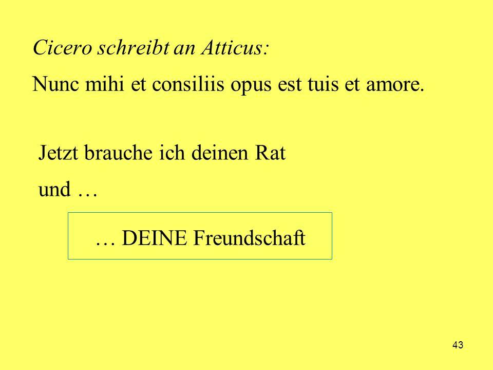 Cicero schreibt an Atticus: Nunc mihi et consiliis opus est tuis et amore.