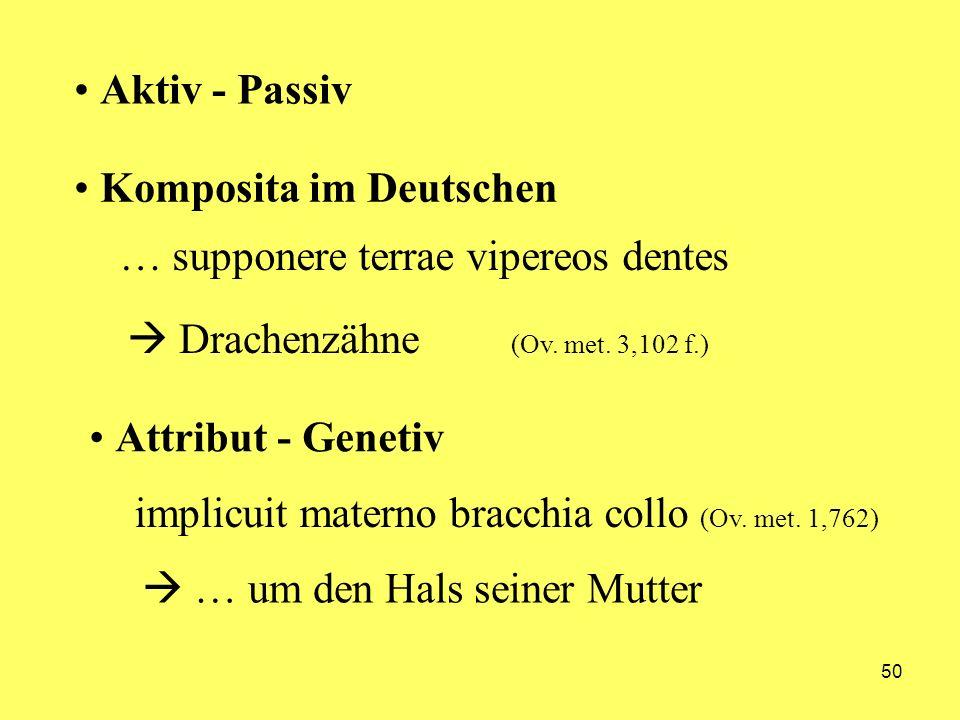 Aktiv - PassivKomposita im Deutschen. … supponere terrae vipereos dentes.  Drachenzähne (Ov. met. 3,102 f.)