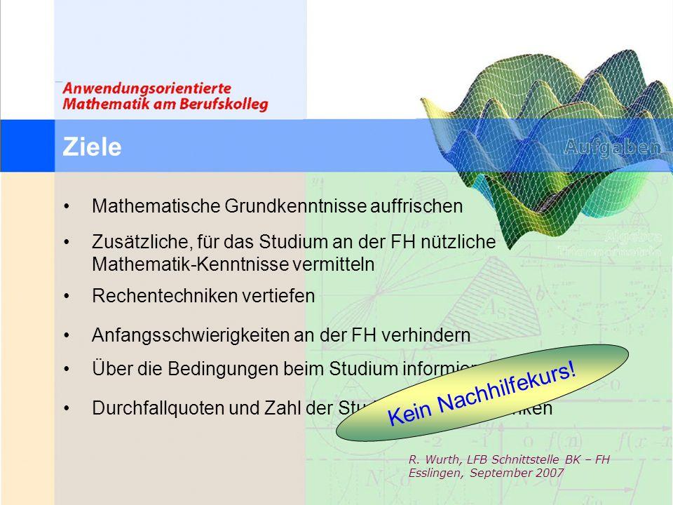 Ziele Kein Nachhilfekurs! Mathematische Grundkenntnisse auffrischen