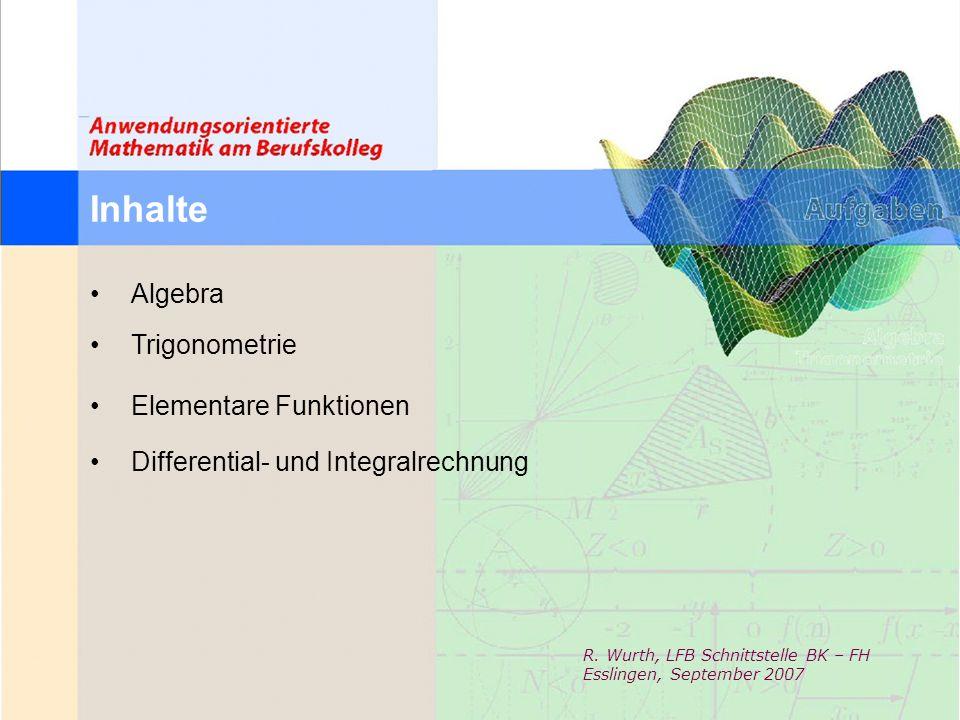 Inhalte Algebra Trigonometrie Elementare Funktionen