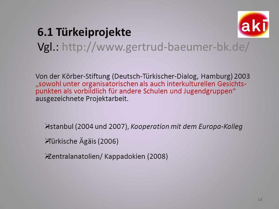 6.1 Türkeiprojekte Vgl.: http://www.gertrud-baeumer-bk.de/
