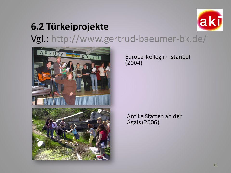 6.2 Türkeiprojekte Vgl.: http://www.gertrud-baeumer-bk.de/