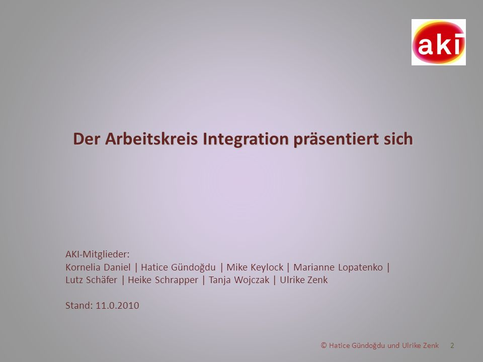 Der Arbeitskreis Integration präsentiert sich